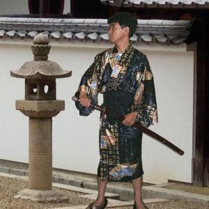 シルク ハッピローブ 扇に龍と富士山 黒 japan