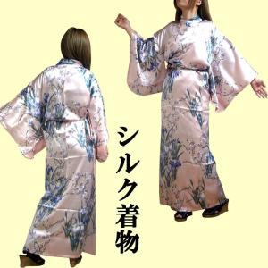 外国人向けシルク着物 あやめ ピンク|japan