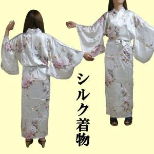 外国人向けシルクきもの 鶴 白|japan