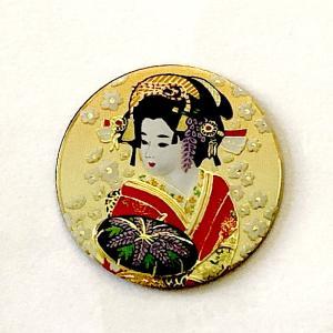 彫金 和柄マグネット 藤娘ゴールド|japan