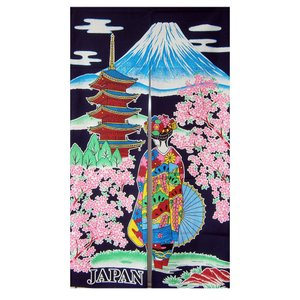和風(暖簾)のれん 塔舞妓紺|japan