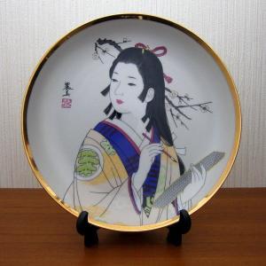 美人画絵皿 日本美人 着物 筆 スタンド付き 中|japan