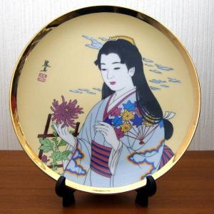 美人画絵皿 日本美人 着物 菊 スタンド付き 中|japan