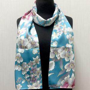 和風シルクストール(ロングスカーフ) 蘭 ターコイス|japan