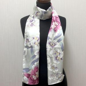 和風シルクストール(ロングスカーフ) 蘭 白|japan