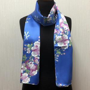 和風シルクストール(ロングスカーフ) 桜 ブルー|japan