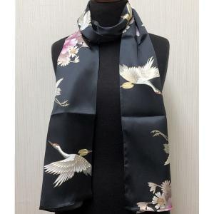 和風シルクストール(ロングスカーフ) 鶴 黒|japan