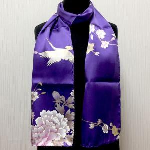 和風シルクストール(ロングスカーフ) 鶴 紫|japan