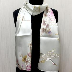 和風シルクストール(ロングスカーフ) 鶴 白|japan