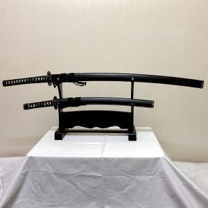 日本刀(美術鑑賞用模造刀)大刀・小刀2本セット黒石目|japan