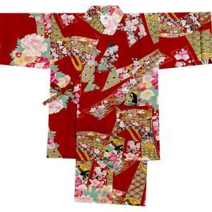子供甚平 女の子用 お姫様 赤|japan