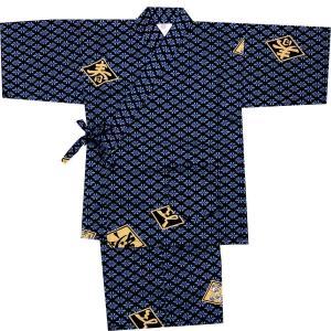 子供甚平 男の子用 菱文字 青|japan
