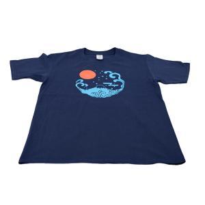 アウトレット・和柄Tシャツ-富士山-紺色/Mサイズ/半袖/メンズ/レディース/ユニセックス japanesestandard