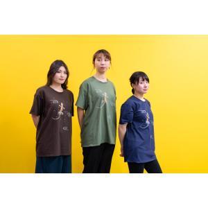 和柄Tシャツ-イモリ-紺色/Lサイズ/半袖/メンズ/レディース/ユニセックス japanesestandard
