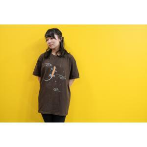 和柄Tシャツ-イモリ-栗皮茶色/Mサイズ/半袖/メンズ/レディース/ユニセックス japanesestandard