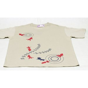 アウトレット・和柄Tシャツ-金魚-からし色/Sサイズ/半袖/メンズ/レディース/ユニセックス japanesestandard