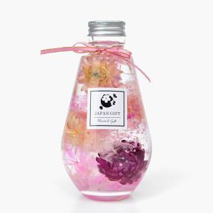 ハーバリウム ヘリクリサム(パープルMIX)&アジサイ(ピンク) オーバル瓶 電球 観葉植物 インテリア 雑貨 プリザーブドフラワー 花 ドライフラワー|japangift