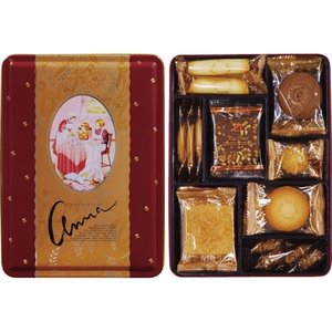 ●化粧箱/18×24×6.5cm●重量/570g●クッキー8種(バタースナップ×3・キャラメルクッキ...