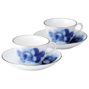 食器 洋食器 おしゃれ セット ブランド 大倉陶園 ブルーローズ ティー コーヒー碗皿 ペアセット 78CR/8211|japangift