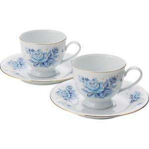 内祝い 内祝 お返し ギフト ブルーローズ ペアコーヒーカップ 2P ソーサーセット 食器 カップ コップ ペアセット ギフト|japangift