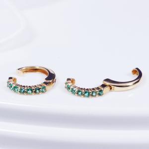 耳元を飾る素敵なカラーストーンイヤリング 18金エメラルドデザインピアリング 165374|japangold