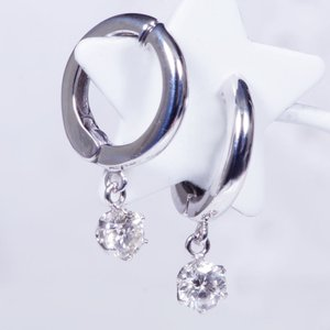 ダイヤ スイング ピアリング ワンストーン 計0.4カラット 14金ホワイトゴールド 4月誕生石 ギフト 特別奉仕品 見た目もすっきり、ピアス感覚のイヤリング|japangold