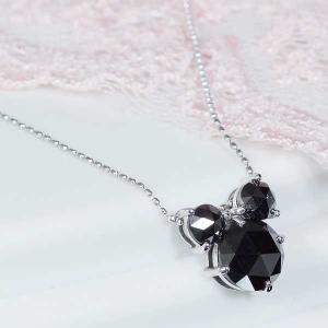 特別奉仕品 プラチナブラックダイヤペンダントネックレス キューティーマウス 計1.2カラット 4月誕生石 japangold
