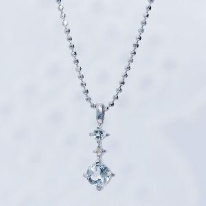 アクアマリン ダイヤ ペンダント ネックレス シルバー 3月誕生石|japangold