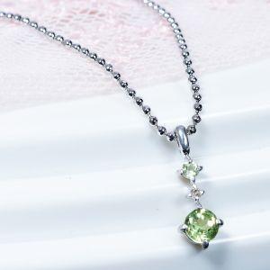 ペリドット ダイヤ ペンダントネックレス シルバー 誕生石8月 メッセージジュエリー プレゼントにおすすめ|japangold
