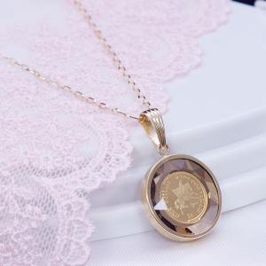 18金ゴールドガラス枠純金金貨ペンダントネックレス(ペガサスコイン)89096112 japangold