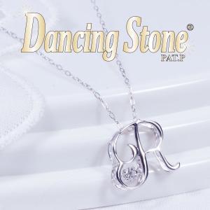ギフト Dancing Stone (ダンシングストーン) 18金ホワイトゴールド ダイヤ イニシャル ペンダントネックレス (R) (FTW-0962-R) japangold