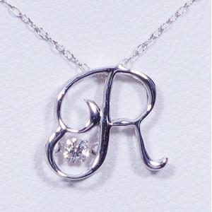 ギフト Dancing Stone (ダンシングストーン) 18金ホワイトゴールド ダイヤ イニシャル ペンダントネックレス (R) (FTW-0962-R) japangold 02
