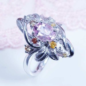 モルガナイト デザインリング 18金ホワイトゴールド ピンクアクアマリン 3月誕生石 特別奉仕品|japangold