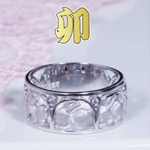 シルバー台干支ダイヤデザインリング(卯)|japangold