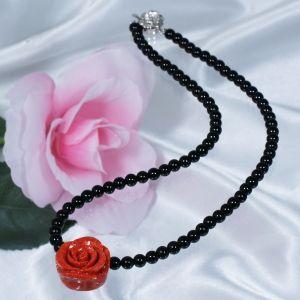 (ヒット商品)珊瑚オニキスデザインネックレス(薔薇)|japangold