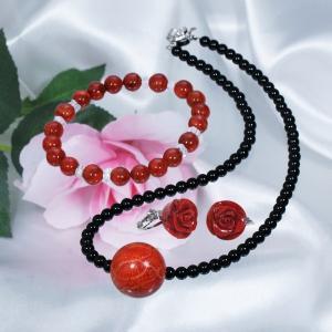 珊瑚 お買得珊瑚ジュエリー3点セット (ネックレス&イヤリング&ブレスレット)|japangold