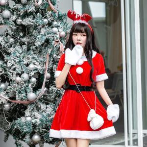サンタコスプレ レディース サンタ衣装 ワンピース クリスマスコスプレ 仮装 サンタクロース衣装 2018新作 コスチューム パーティー衣装 可愛い