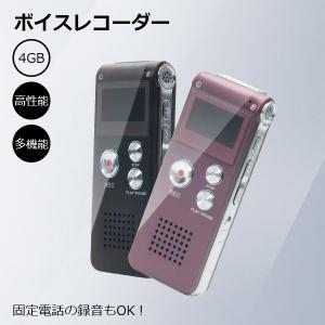 ICレコーダー ボイスレコーダー 小型 長時間録音 4GBメモリ内蔵 軽量 薄型 電話録音 高性能 スピーカー搭載 使いやすい 2色選ぶ