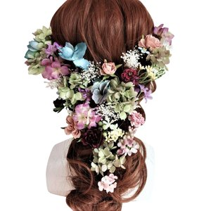 モーヴ系ヘアード ウェディング髪飾り おしゃれ 豪華 プリザーブドフラワー 造花 ヘアアクセサリー|jd-bridal