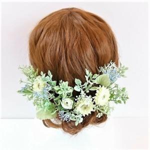 ヘアパーツ ナチュラル ホワイトグリーン系ヘアード シルクフラワー プリザーブドフラワー 造花 ウェディング髪飾り ヘアアクセサリー|jd-bridal
