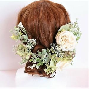 ヘアパーツ バラ2輪付きホワイトグリーン系ヘアード シルクフラワー プリザーブドフラワー 造花 ウェディング髪飾り ヘアアクセサリー|jd-bridal