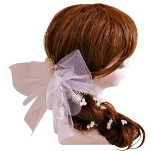 髪飾りチュールリボン【メール便対象商品】豪華 可愛い ヘアード ウェディング髪飾り ヘアアクセサリー|jd-bridal