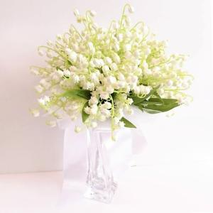 ウェディングブーケ ブライダルブーケ ブーケ造花 結婚式ブーケ ラウンドブーケ スズラン jd-bridal