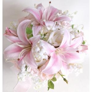 ウェディングブーケ ブライダルブーケ ブーケ造花 結婚式ブーケ ラウンド ユリ jd-bridal