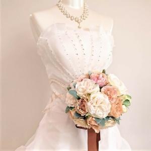 ウェディングブーケ ブライダルブーケ ブーケ造花 結婚式ブーケ ラウンドアンティークベージュ jd-bridal