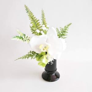 胡蝶蘭の仏花(小)ホワイト 高級 コチョウラン 【造花】【仏花】【御供】|jd-bridal