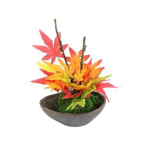 【花雅シリーズ】苔玉と紅葉の盆栽風アレンジ 高級造花 紅葉 和風アレンジ ギフト インテリア jd-bridal