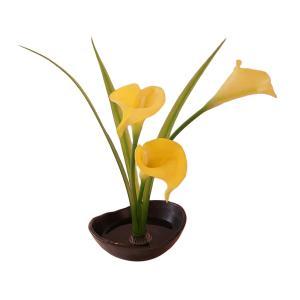 【花雅シリーズ】カラー(黄色) 意匠登録デザイン 和風アレンジ ギフト インテリア  生け花  いけばな jd-bridal