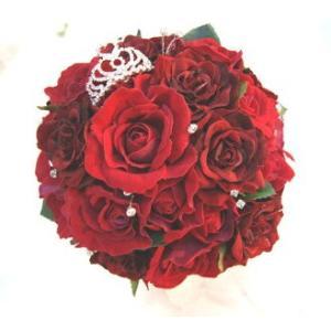 結婚式ブーケ 造花 ウェディングブーケ 造花シルクフラワー 美女と野獣イメージ プリンセスブーケ 造花ラウンドブーケ 結婚式ブーケ赤 jd-bridal