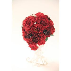 結婚式ブーケ 造花 ウェディングブーケ 造花シルクフラワー 造花ティアドロップブーケ 結婚式ブーケ赤 美女と野獣イメージ プリンセスブーケ jd-bridal